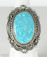 Authentic Navajo Sterling Silver Turquoise Ring size 9 1/2 by Ella Mae Linkin