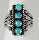 Authentic Navajo Sterling Silver Turquoise Ring by Raymond Betsoi