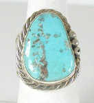 Authentic Navajo Sterling Silver Morenci Turquoise cigar band ring size 11 by Tony Garcia