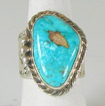 Authentic Navajo Sterling Silver Sunnyside Turquoise cigar band ring size 10 1/2 by Tony Garcia