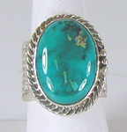 Authentic Navajo Sterling Silver Turquoise Mountain cigar band ring size 12 by Tony Garcia