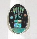 Authentic Native American Sterling Silver micro inlay Ring size 9 1/2 by Navajo artist Gilbert Smith