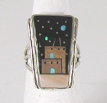 Authentic Native American Sterling Silver micro inlay Ring size 9 by Navajo artist Merle House, Jr.