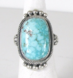 Authentic Navajo Sterling Silver Kingman Turquoise Mountain ring size 7 1/2 by Gloria Begay