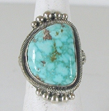 Authentic Navajo Sterling Silver Kingman Turquoise Mountain ring size 5 1/2 by Gloria Begay