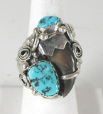 Sterling Silver Claw and  Turquoise ring size 11 1/4 by Navajo artist Percy Spencer