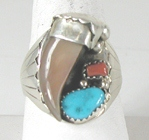 Authentic Native American Sterling Silver Claw Turquoise Coral ring size 13 1/4 by Navajo artist Elaine Sam