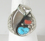 Authentic Native American Sterling Silver Claw Turquoise Coral ring size 13 by Navajo artist Elaine Sam