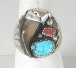 Authentic Native American Sterling Silver Claw Turquoise Coral ring size 12 3/4 by Navajo artist Elaine Sam