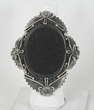 Authentic Navajo Sterling Silver Black Onyx ring size 8 1/4