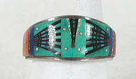 Authentic Navajo Sterling Silver Micro-Inlay ring size 11 1/2 by Ervin Tsosie