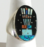 Authentic Native American Sterling Silver micro inlay Ring size 11 1/2 by Navajo artist Gilbert Smith