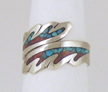 Sterling Silver, turquoise and coral chip inlay adjustable ring