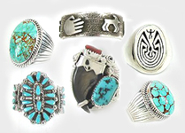 Native American Indian sterling silver turquoise rings