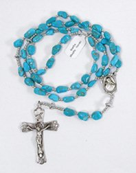 Authentic Native American Navajo Sterling Silver and Turquoise Rosary by Martha Murphy