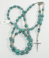 Authentic Native American Turquoise and sterling silver  Rosary by Navajo Missy Ramirez