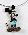 Zuni Mickey Mouse Sterling Silver Inlay Pin Pendant