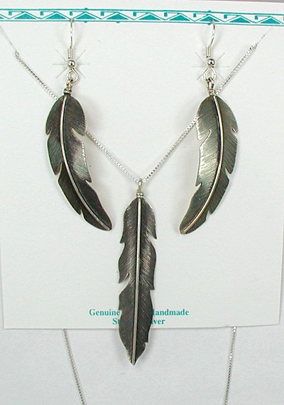 Native american navajo sterling silver feather earrings for Native american feather jewelry