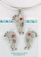 Native American kokopellii pendant and earrings coral sterling silver