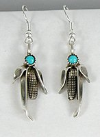 Authentic Navajo corn post earrings sterling silver and turquoise