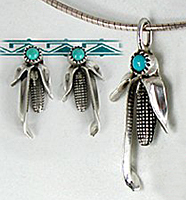 Authentic Navajo corn jewelry earrings sterling silver and turquoise