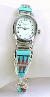 Authentic Native American sterling silver and stone inlay watch tips by Zuni Rayland and Pattie Edaakie