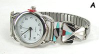 Native American Indian Jewelry; Navajo Sterling Silver watch  bracelet