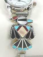 Native American Sterling Silver and stone inlay watch tips by Zuni Anselm Wallace
