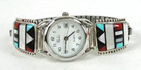 Authentic Native American Sterling Silver and Inlay Watch Tips by Zuni Herbert and Esther Cellicion