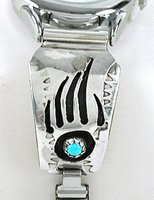 Authentic Native American Sterling Silver and Badger Watch Tips by Navajo Farlene Spencer