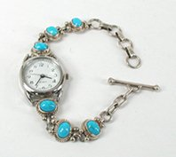 Sterling Silver and Turquoise Link Watch Bracelet