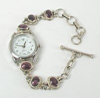 Sterling Silver and Charoite Link Watch Bracelet