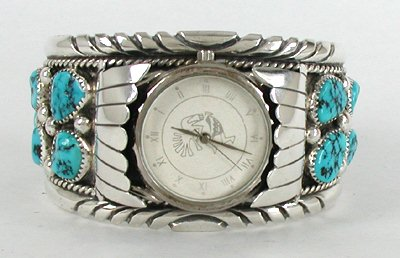 Authentic Native American Kingman Turquoise Mens Watch