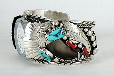 Authentic Native American Navajo Turquoise C Claw Cuff Watch