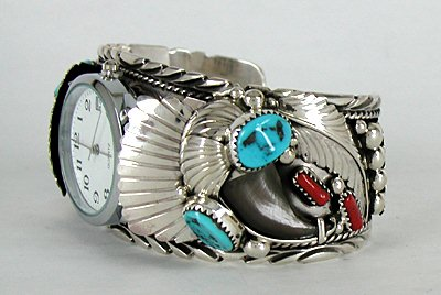 Authentic Native American Bear Claw Watch Cuff Bracelet Turquoise