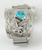 Authentic Native American Navajo Sterling Silver and Turquoise Eagle Watch Tips