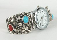 Sterling Silver and Turquoise and Coral Watch Tips