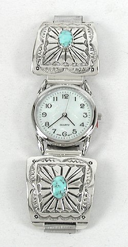 Authentic Native American Turquoise Mens Watch Tips By
