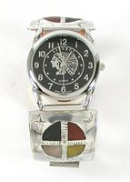 Authentic Native American Sterling Silver and Stone Inlay Watch Tips by Lakota Mitchell Zephier