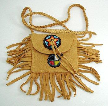 Native American Indian Buckskin Beaded Medicine Bag