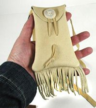 fringed buckskin medicine bag with antler button