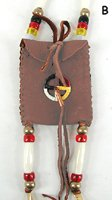 Native American Buckskin Medicine Bag with pipestone bead by Lakota Alan Monroe
