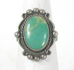 vintage green turquoise sterling silver ring size 7 3/4