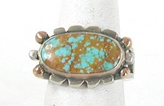 vintage sterling silver and 14K gold  turquoise ring size 6 1/2