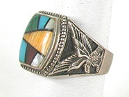 vintage sterling silver and stone inlay Eagle ring size 11 1/2