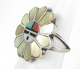 vintage sterling silver and stone inlay Sunface ring size 6