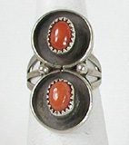 vintage sterling silver coral ring size 6 3/4