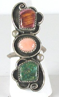 vintage sterling silver multi-stone ring size 11 1/2