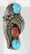 Horsekeeping  Navajo turquoise and coral  ring