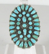 vintage sterling silver petit point turquoise ring size 9